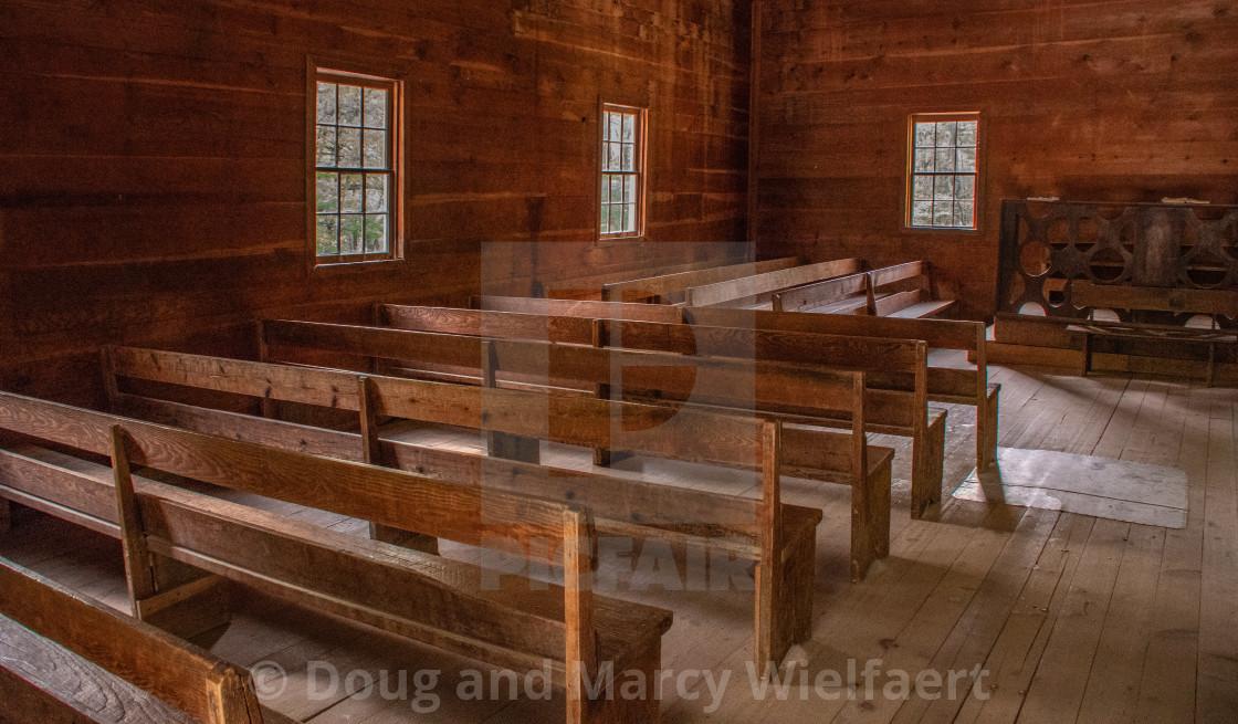 """Rustic church interior"" stock image"
