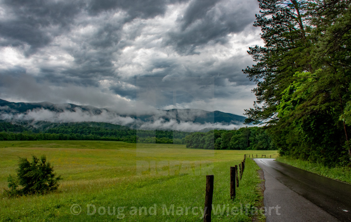 """Mountain Road After Storm"" stock image"