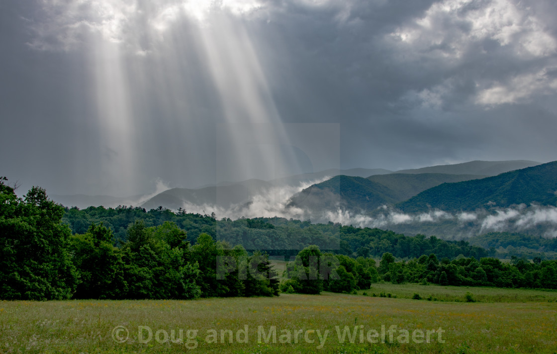 """Sunbeams After a Storm"" stock image"
