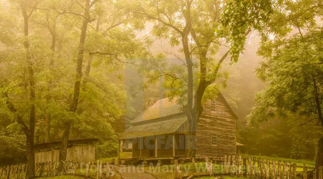 """Tipton Place in the fog"" stock image"