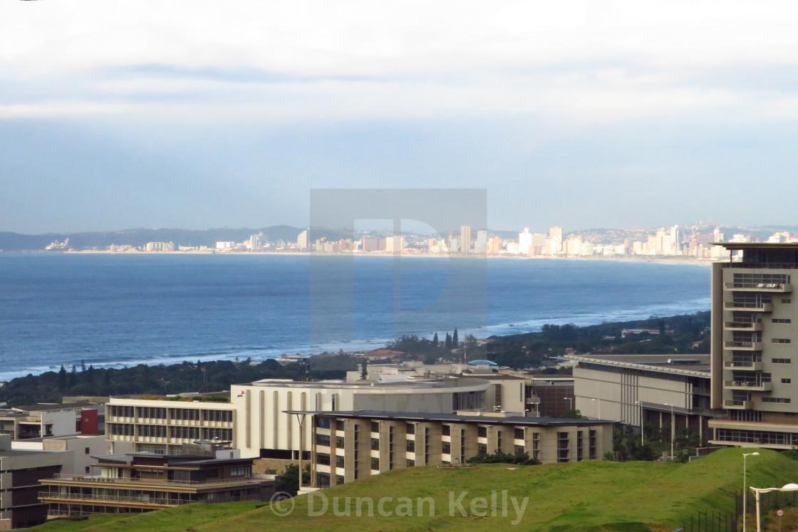 """Durban beachfront buildings in the morning light."" stock image"