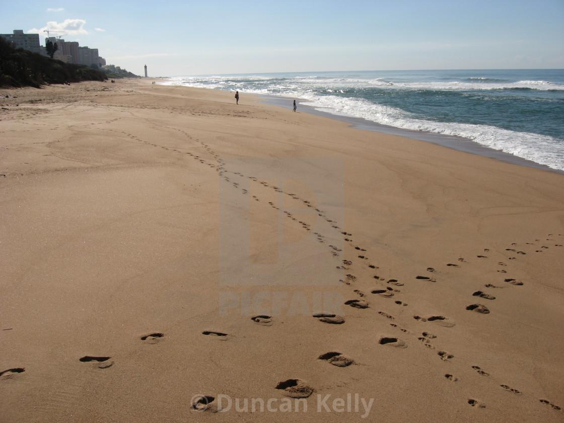 """""""The wide beach at La Lucia near Durban."""" stock image"""
