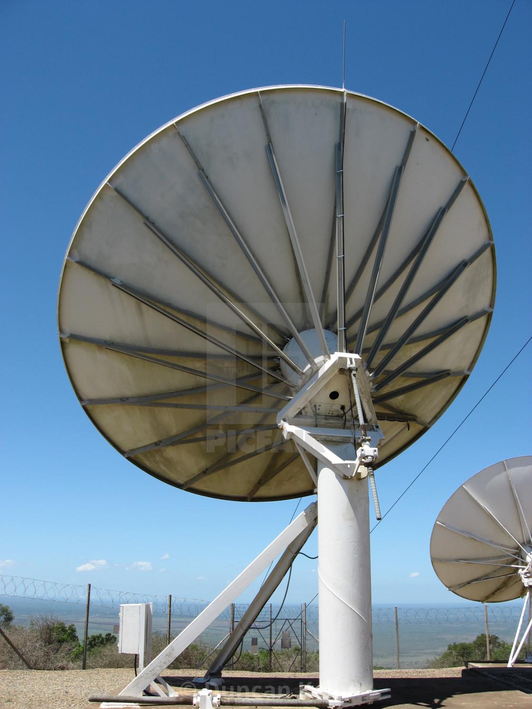 """A huge 10 metre satellite dish at Ubombo."" stock image"