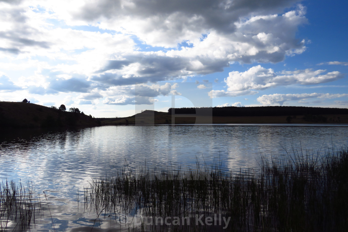 """""""Silhouetted dam and reeds against a blue cloudy sky."""" stock image"""
