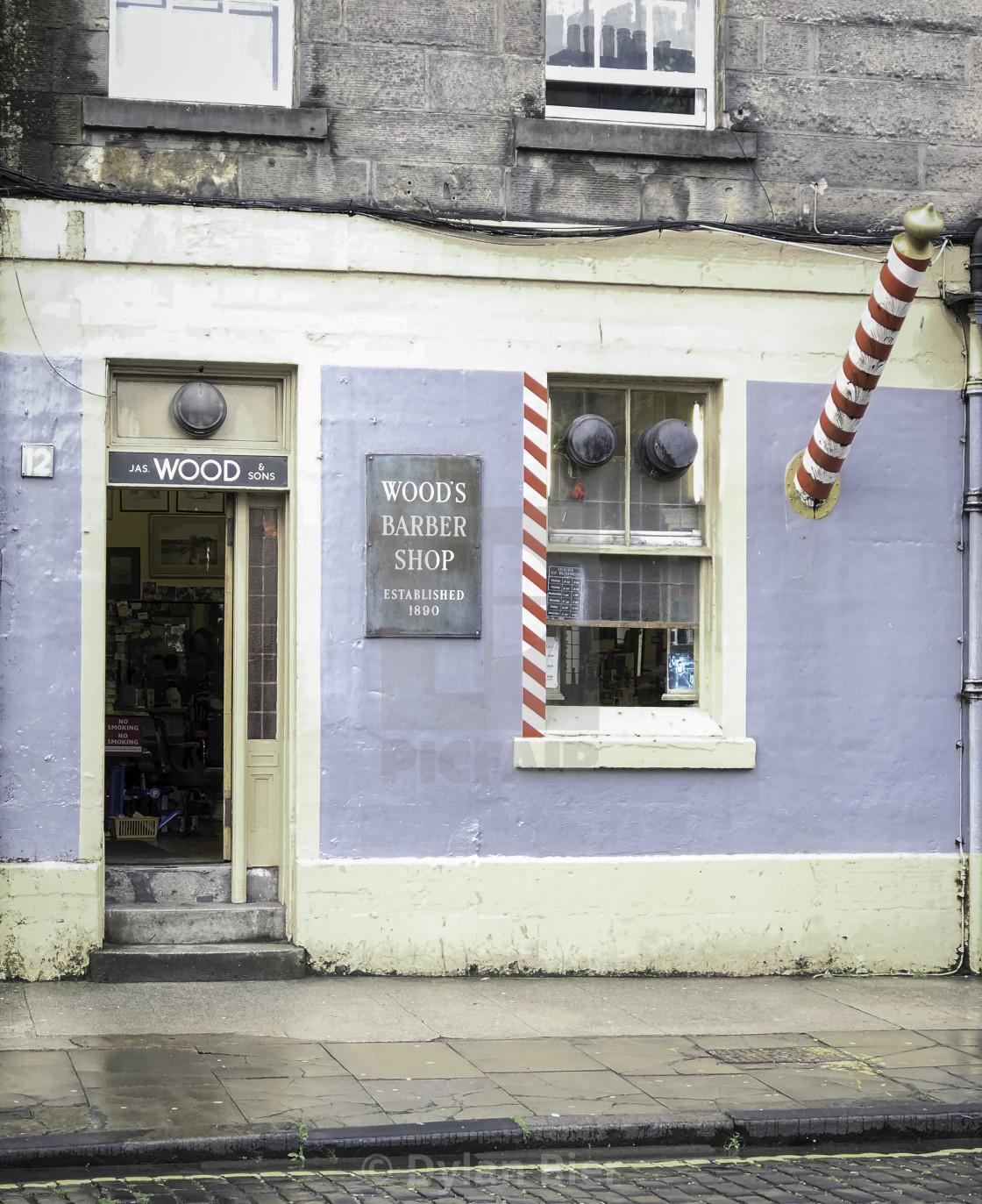 """Wood's Barber Shop"" stock image"