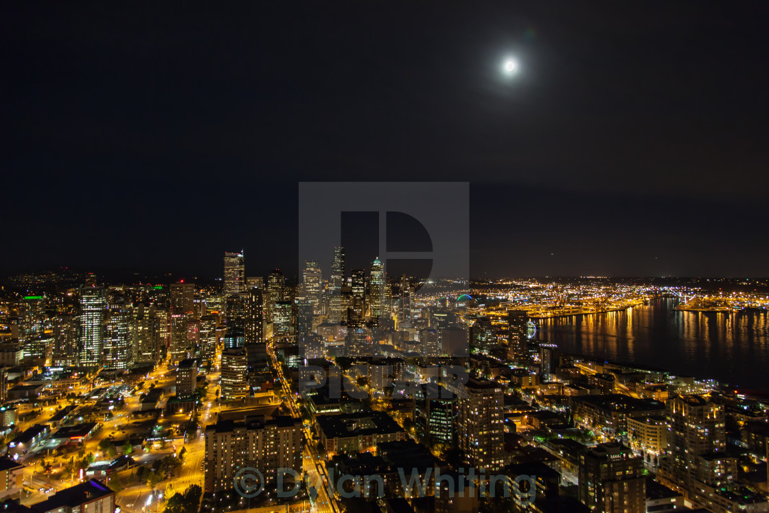 """Seattle by Night"" stock image"