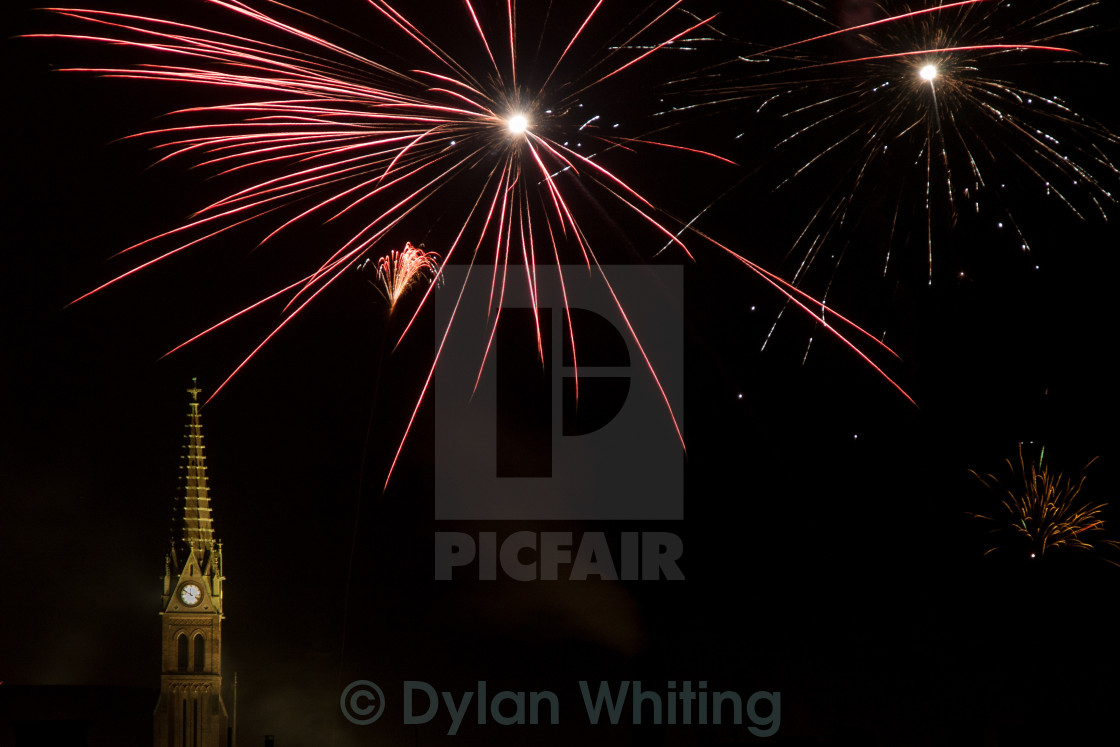 """Fireworks above Church"" stock image"