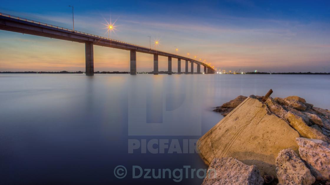 """Sunset at My Loi bridge"" stock image"
