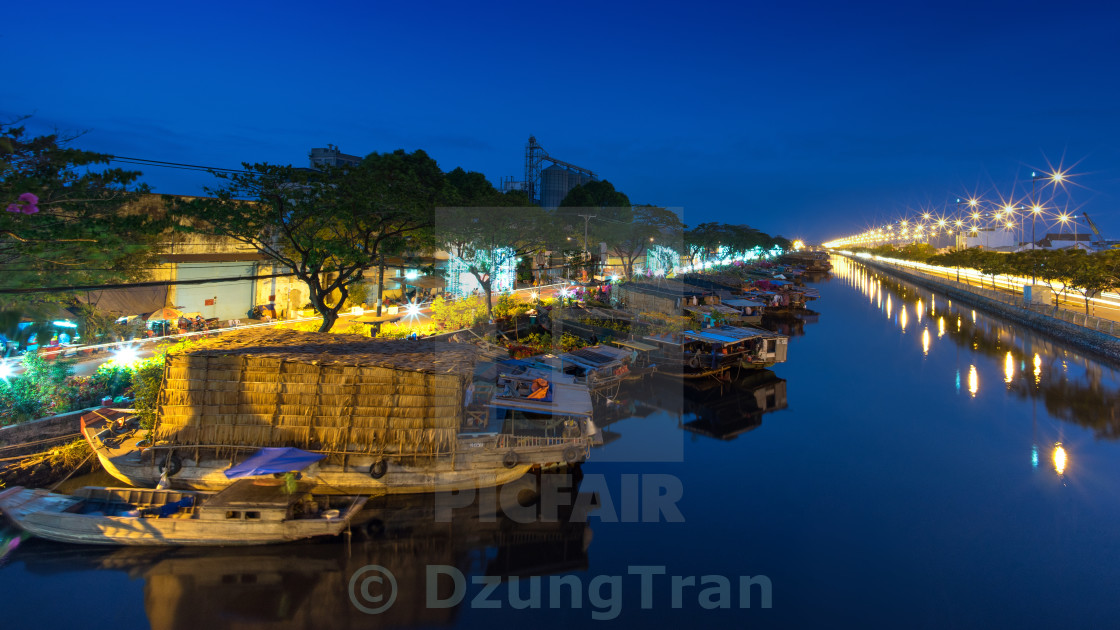 Binh Dong Floating Flower Market.Binh Dong Wharf Flower Market License Download Or Print For