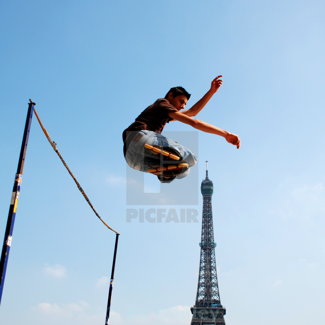 """Skaters near the Eiffel Tower, Paris"" stock image"
