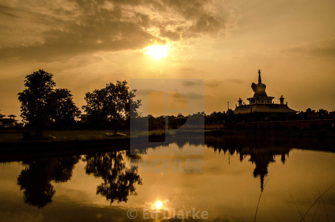"""""""Lumbini Reflections"""" stock image"""