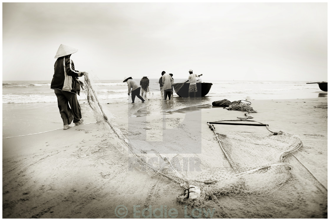 """Fisherman in Danang"" stock image"