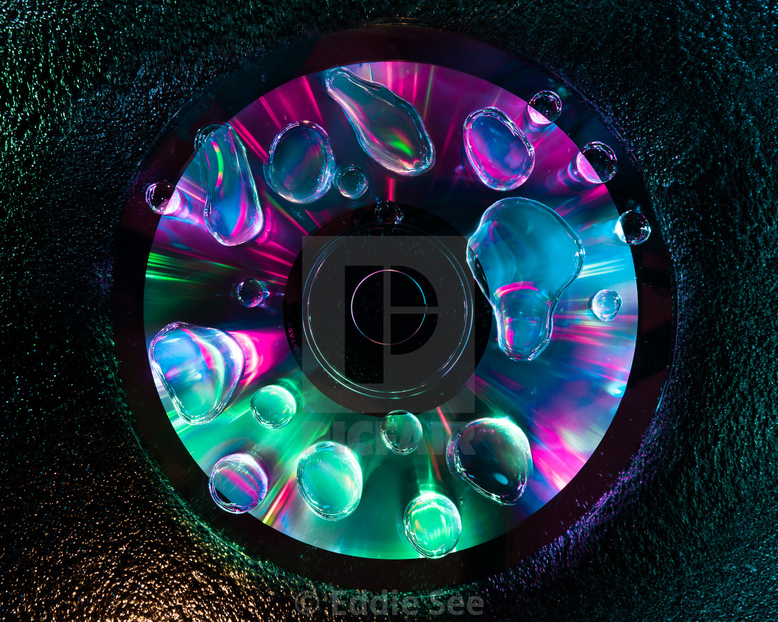 """""""CD water droplet reflections"""" stock image"""