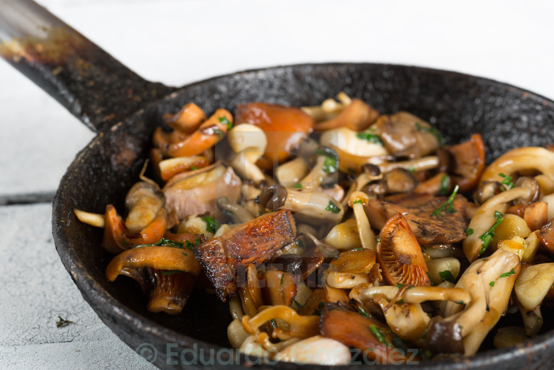"""Sauteed wild mushrooms"" stock image"