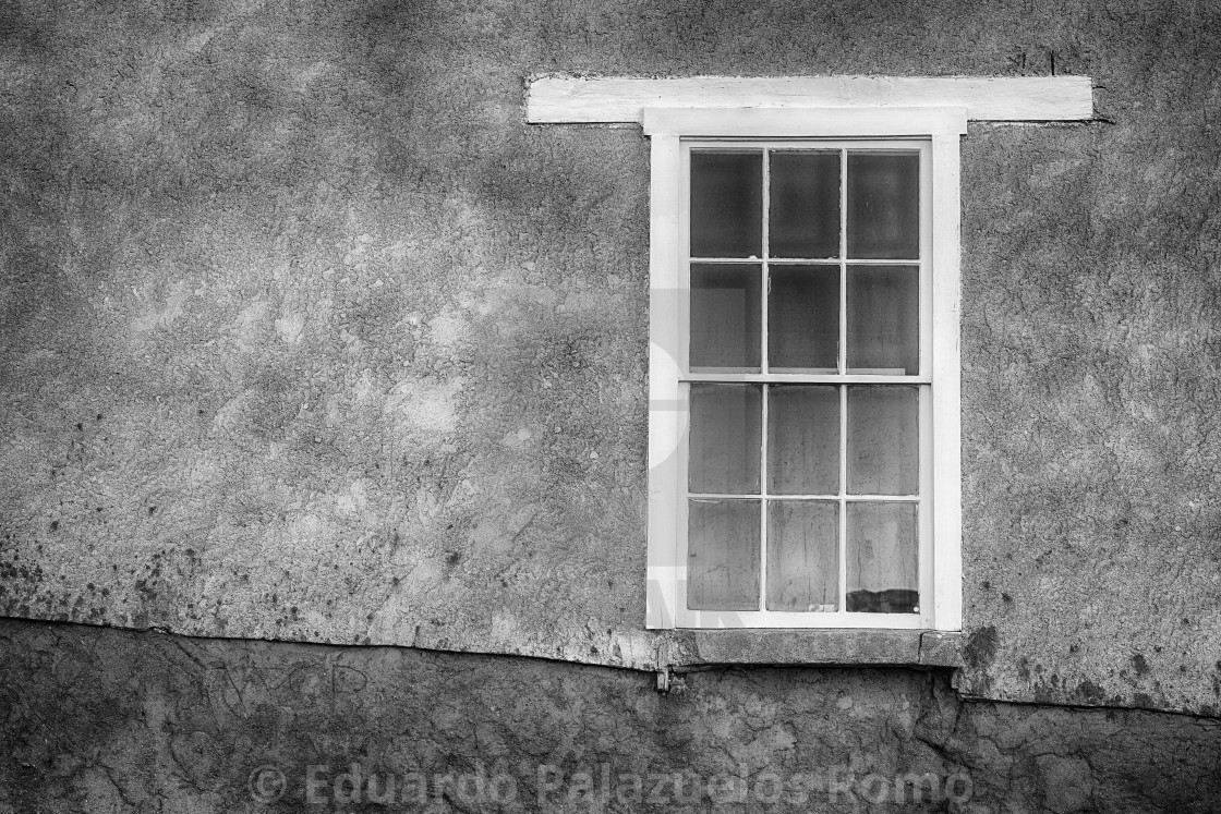 """""""Old Wooden Window, Stucco Adobe wall"""" stock image"""
