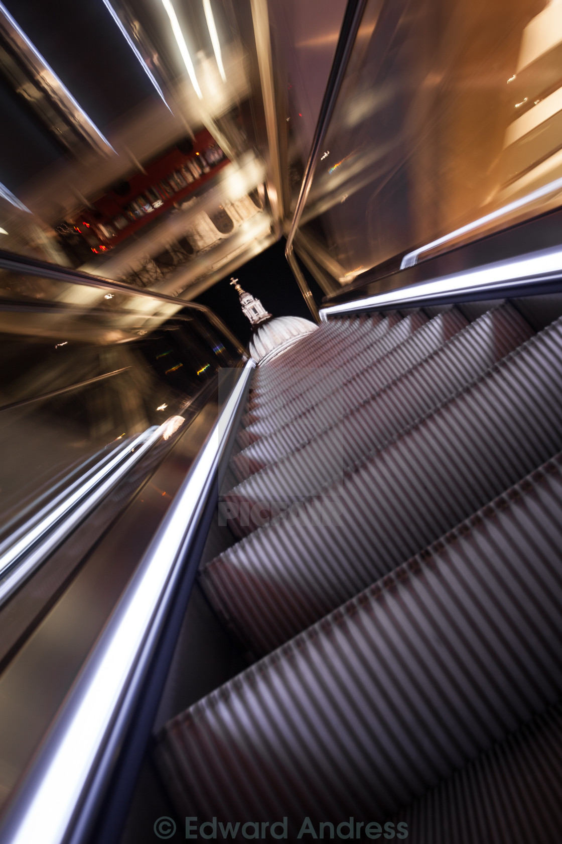 """(Escalator to) St Pauls by Night"" stock image"