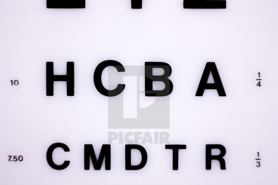 """Optician eye test chart"" stock image"