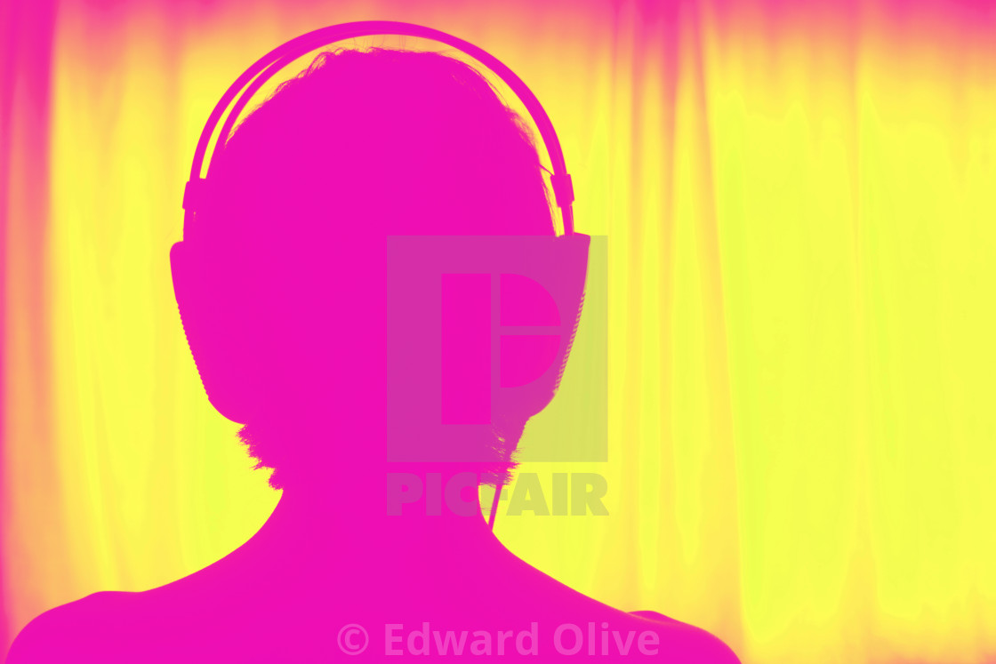 """Female DJ deejay woman headphones"" stock image"
