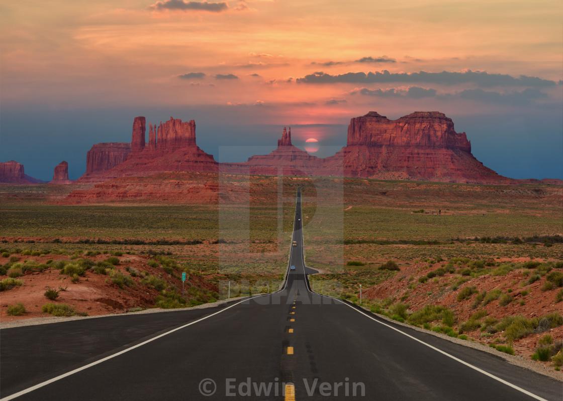 """Scenic highway in Monument Valley Tribal Park in Arizona-Utah border, U.S.A."" stock image"