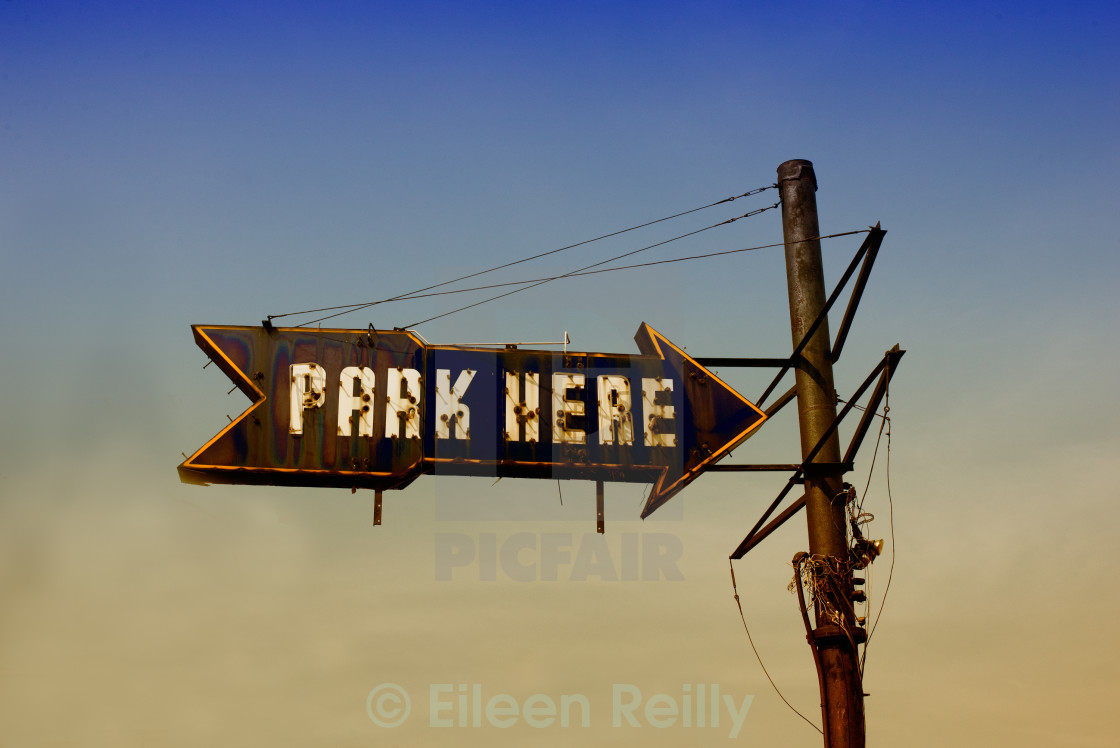 """Park Here"" stock image"