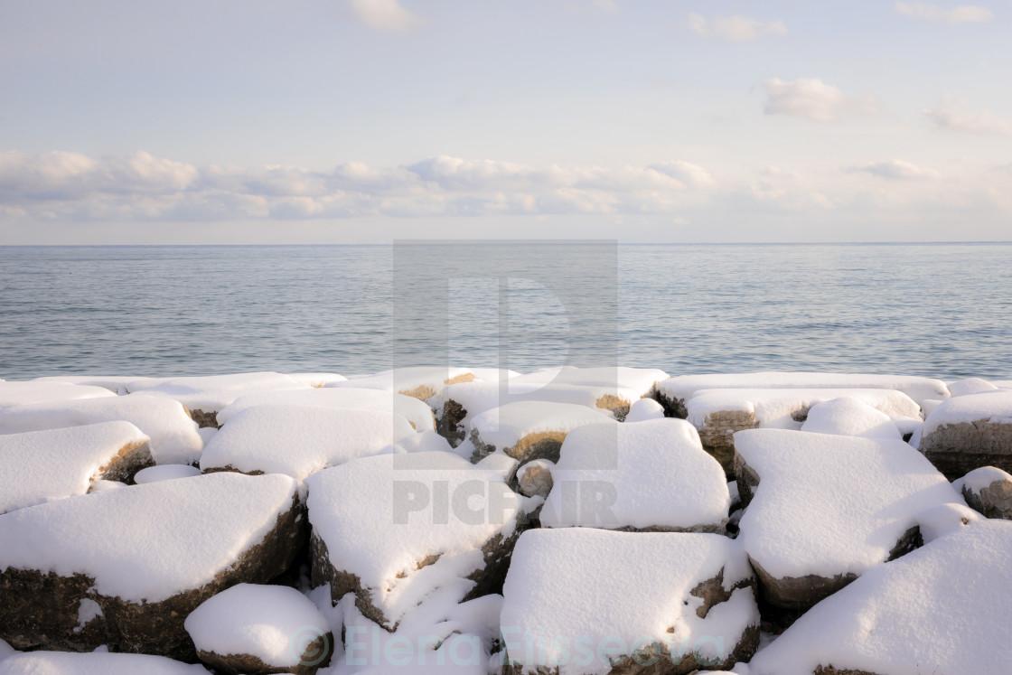 """Winter shore of lake Ontario"" stock image"