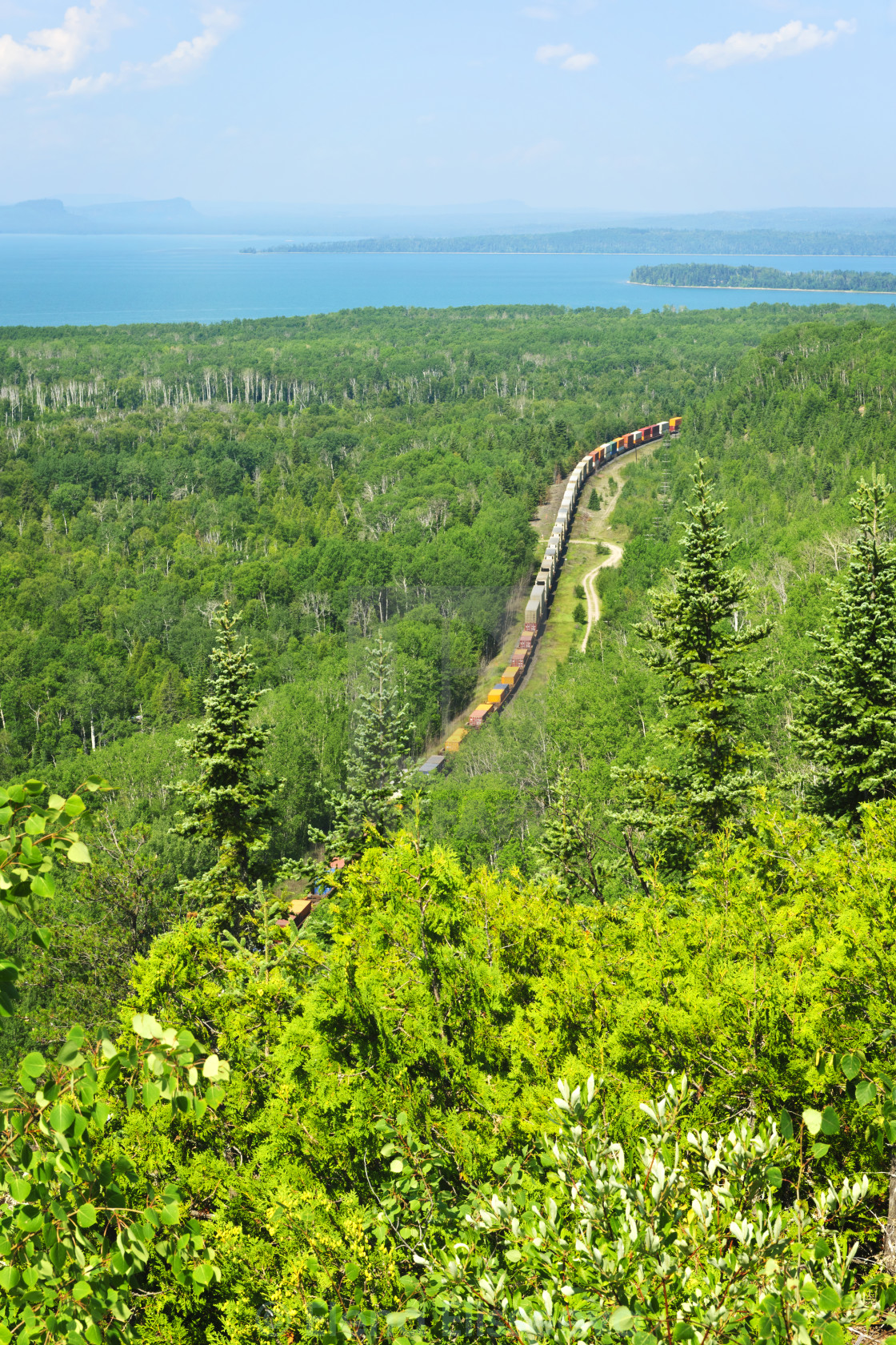 """Train going through northern Ontario Canada"" stock image"
