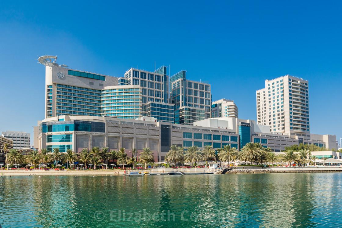 """Abu Dhabi Mall, and Beach Rotana Hotel, Abu Dhabi, United Arab Emirates"" stock image"