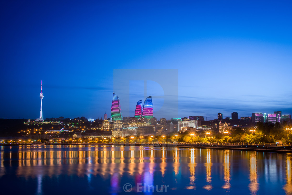 """Night photo of Baku Azerbaijan"" stock image"