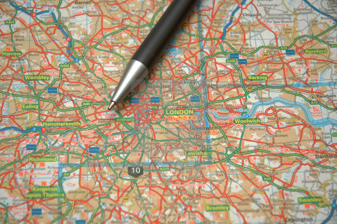 Map Of Central London To Print.Pen And A Map Of Central London License Download Or Print For
