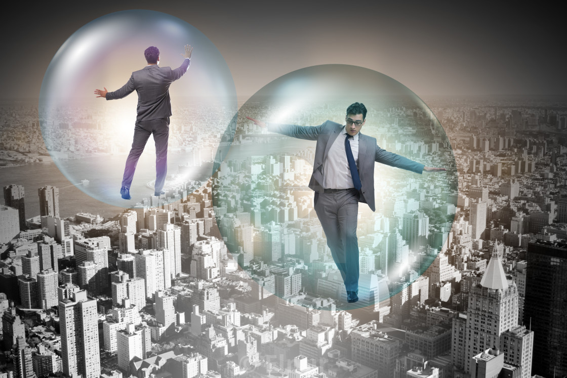 """The businessman flying inside the bubble"" stock image"