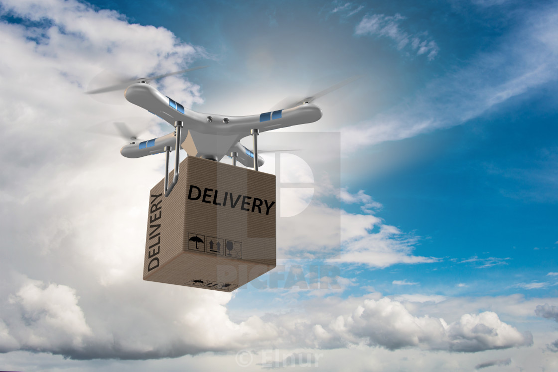 Drone delivery concept with box in air - License, download