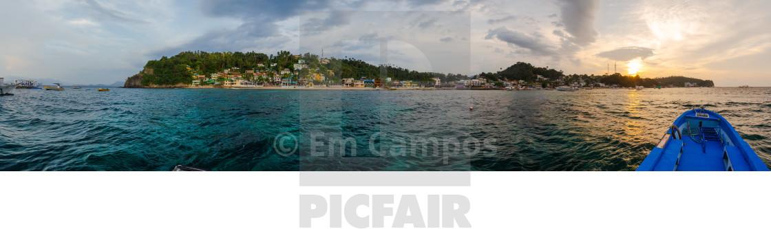 Sunset Panorama Of Puerto Galera Touristic Beach In Sabang