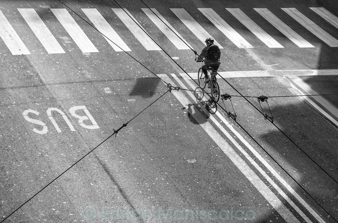 """""""The Tightrope Cyclist"""" stock image"""