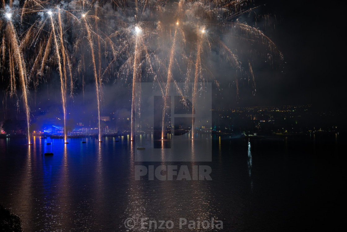 """""""Fireworks on Lake Garda, in Riva del Garda (Italy)."""" stock image"""
