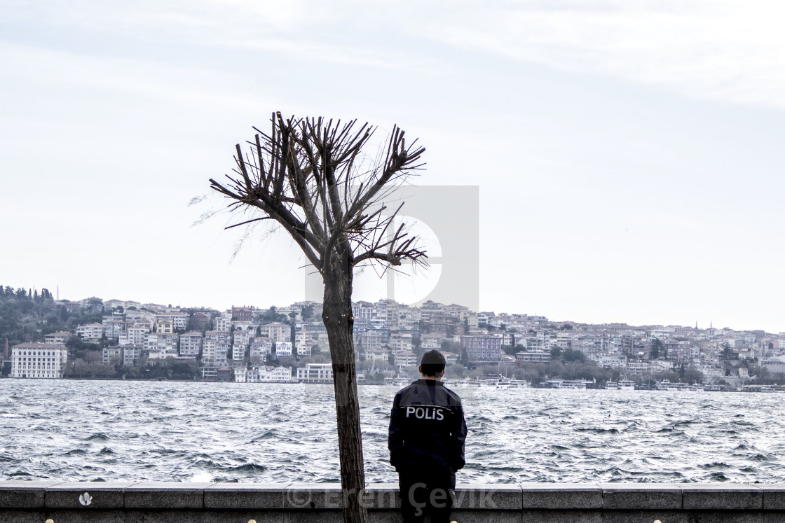 """A lone police officer in Istanbul"" stock image"