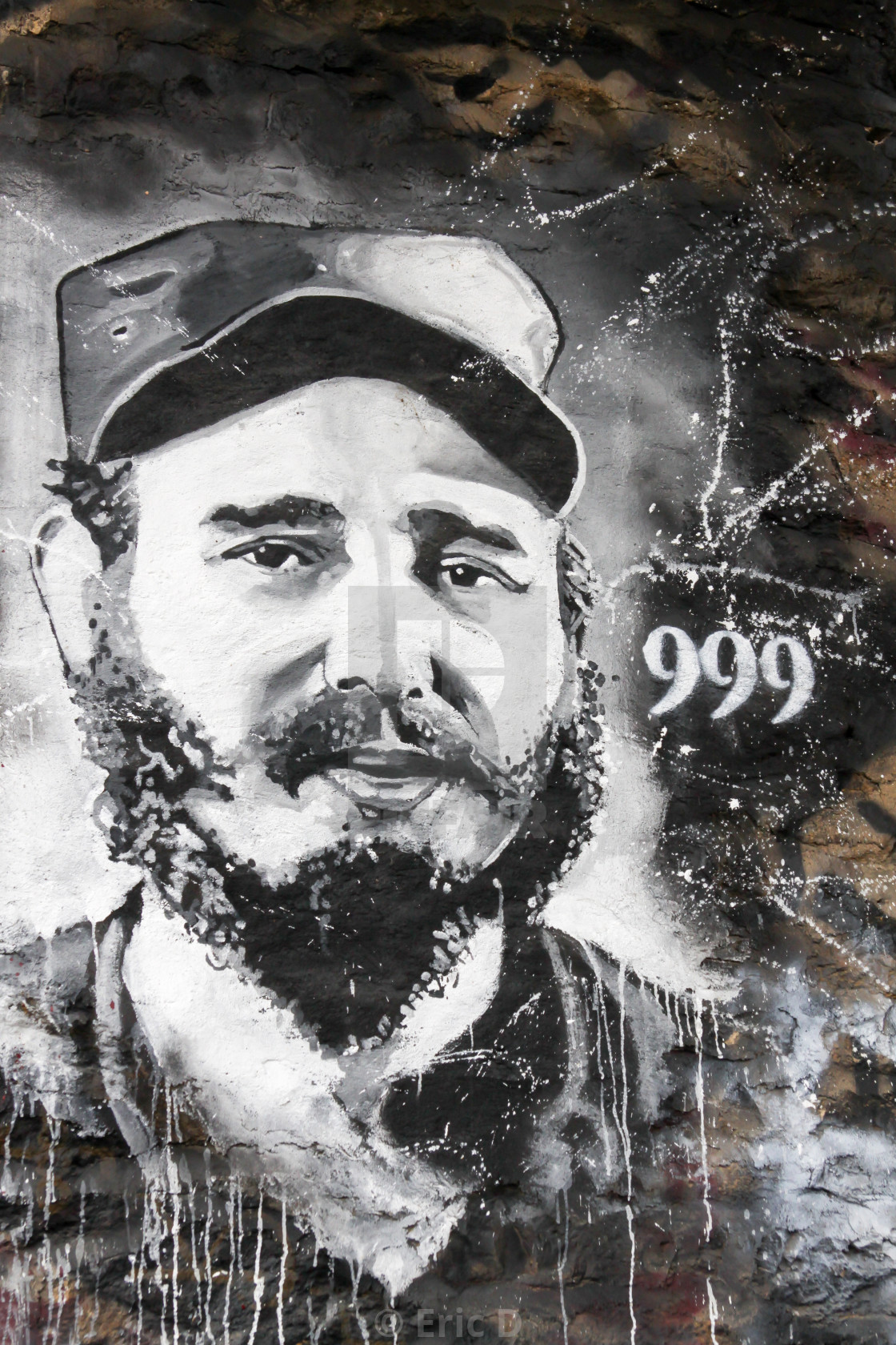 """Street art with a portrait of Fidel Castro"" stock image"