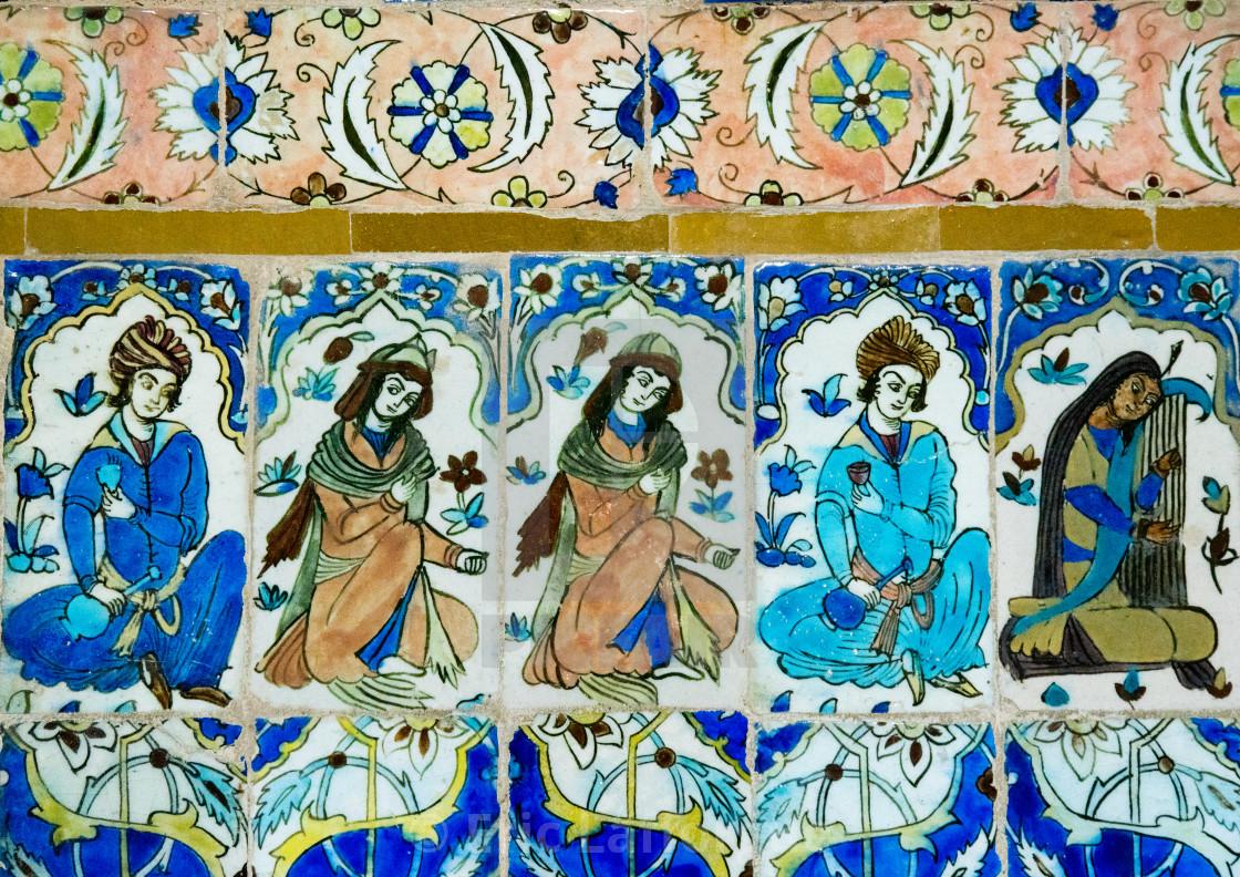 Mosaic Pattern With Ceramic Tiles In Ganjali Khan Hammam Central
