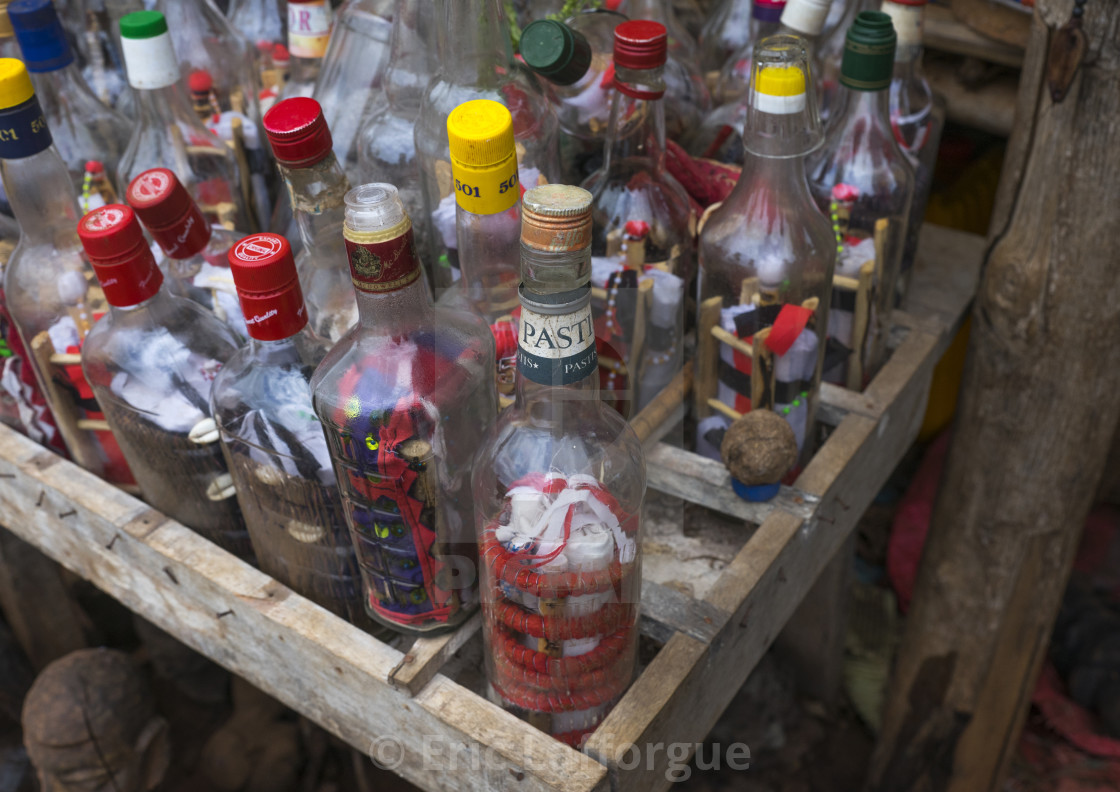 """Benin, West Africa, Bonhicon, magic bottles sold on a voodoo market"" stock image"