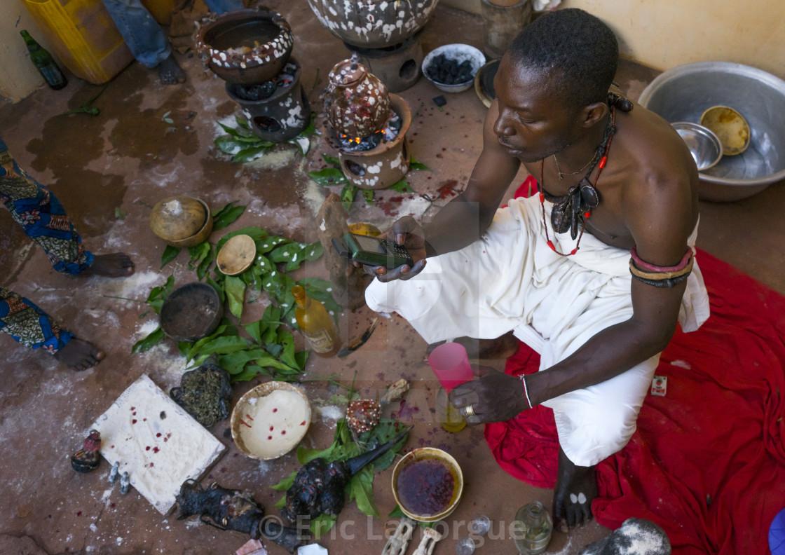 Benin, West Africa, Bonhicon, kagbanon bebe voodoo priest making a