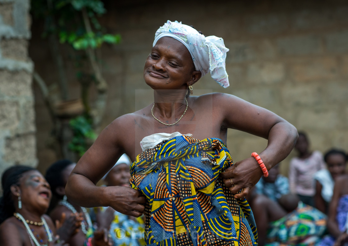 """Benin, West Africa, Bopa, woman dancing during a traditional voodoo ceremony"" stock image"