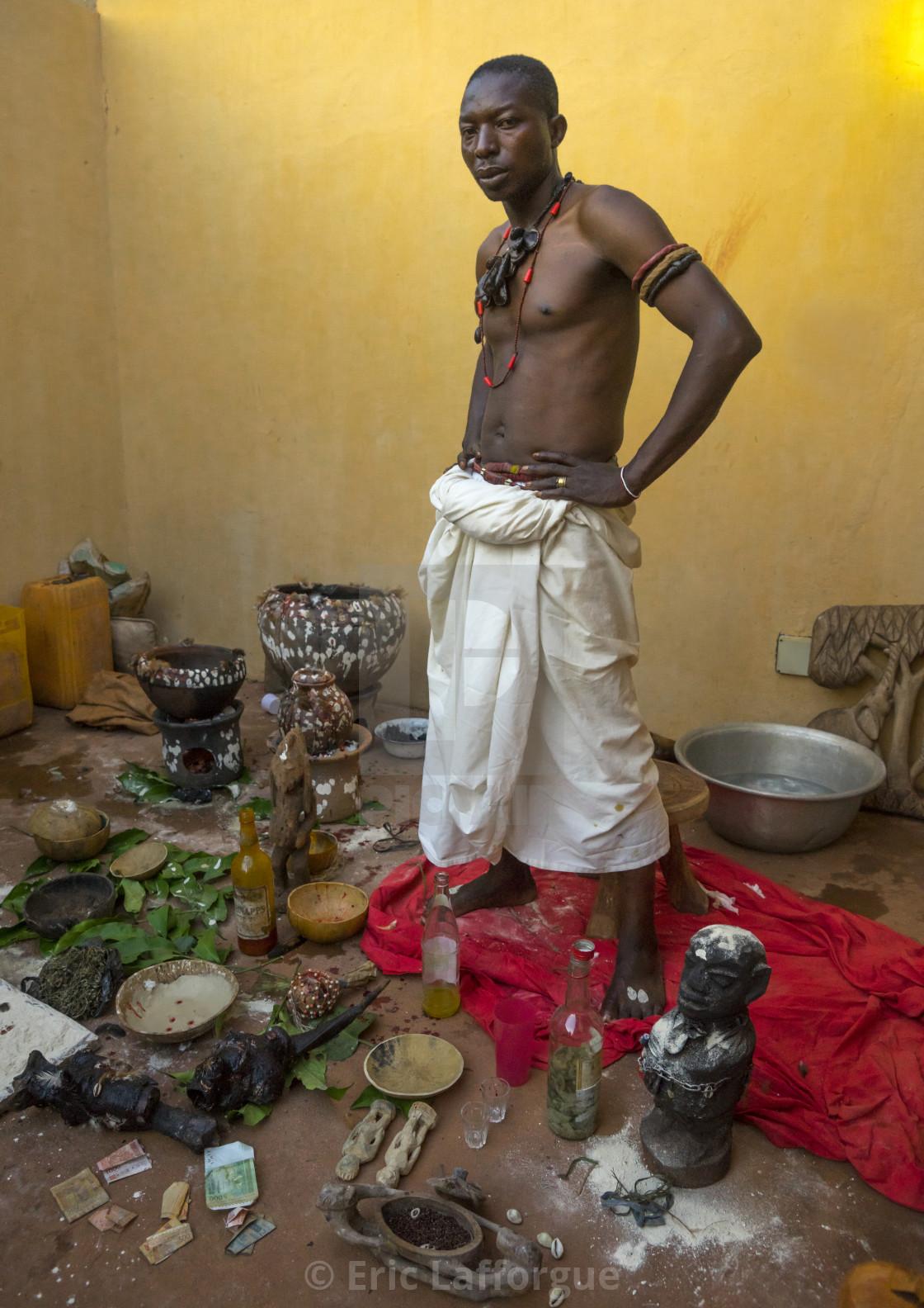 Benin, West Africa, Bonhicon, kagbanon bebe voodoo priest at