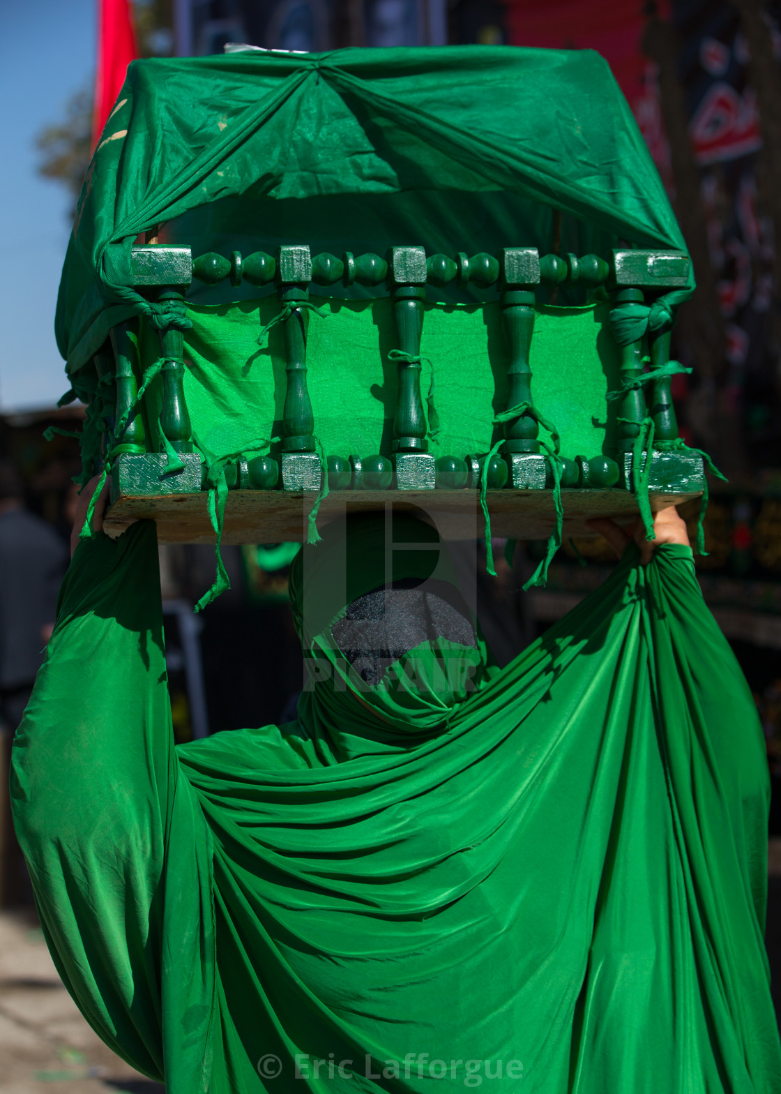 """Iranian Shiite Muslim Woman On The Day Of Tasua With Her Face Covered By A..."" stock image"