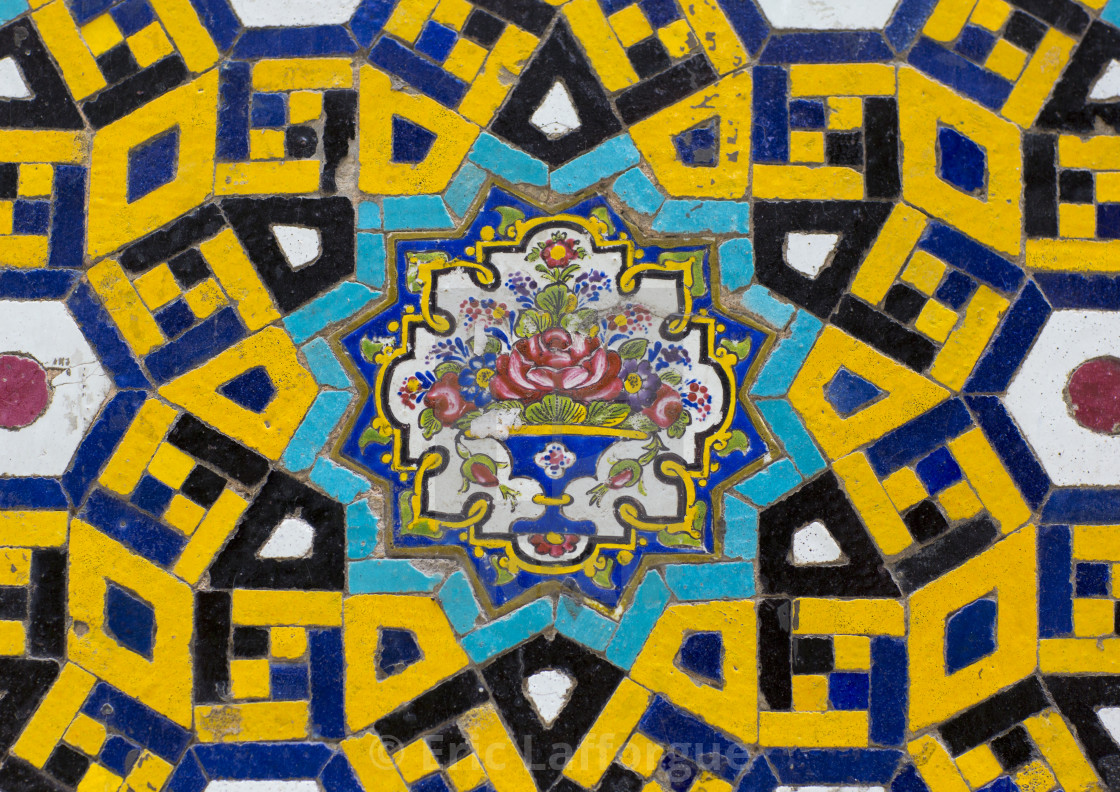 Mosaic Pattern With Ceramic Tiles Isfahan Province Isfahan Iran