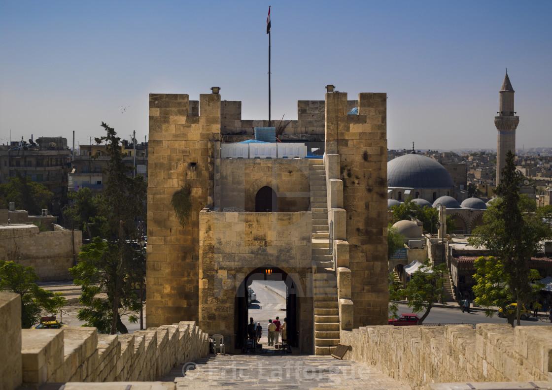 """Bridge Leading To The Citadel, Aleppo, Syria"" stock image"