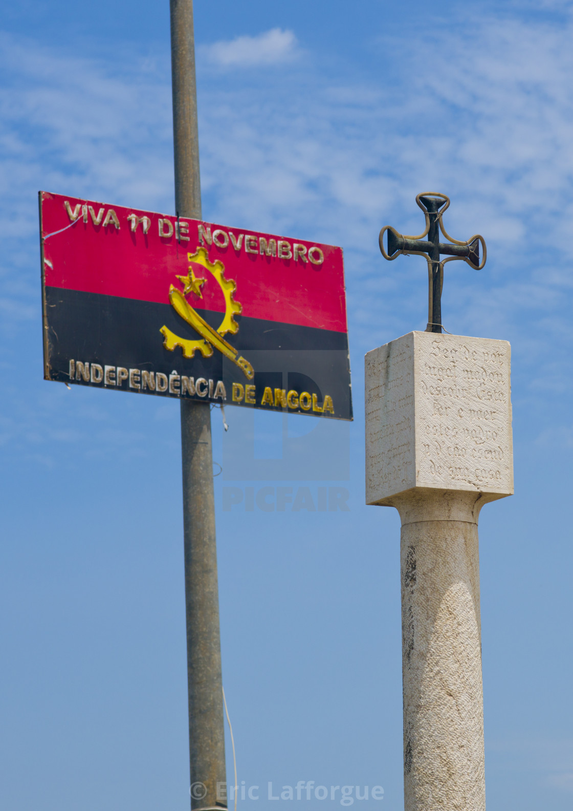"""Panel Celebrating The Independance Day Next To A Christian Cross, Angola"" stock image"