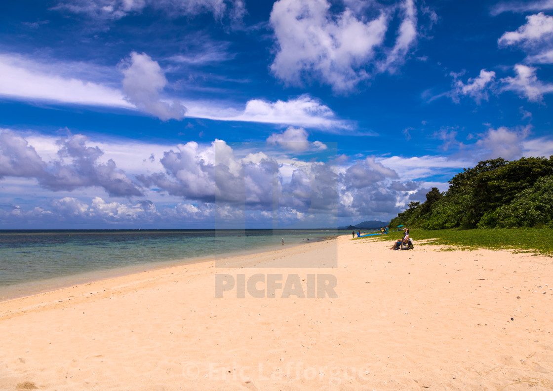 """Empty Yonehara beach in summertime, Yaeyama Islands, Ishigaki, Japan"" stock image"