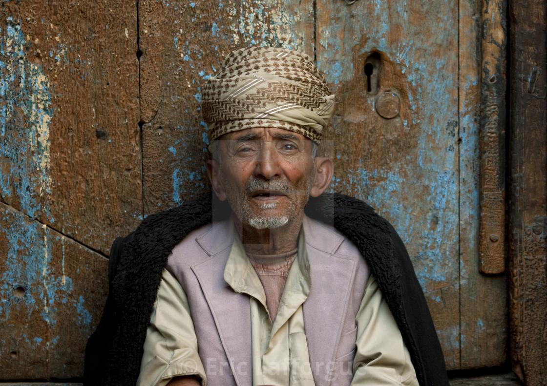 """Old Man With Traditional Turban In Sanaa, Yemen"" stock image"