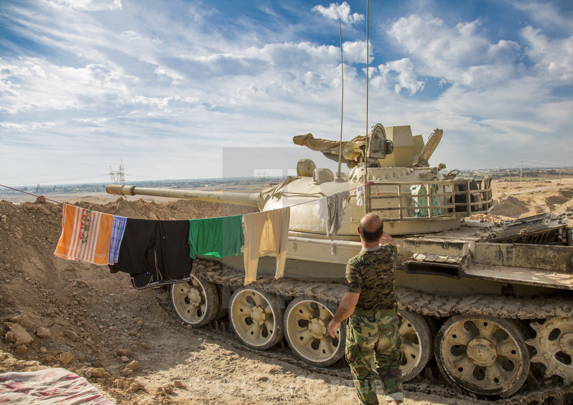 """Kurdish Tank On The Frontline, Kirkuk, Kurdistan, Iraq"" stock image"