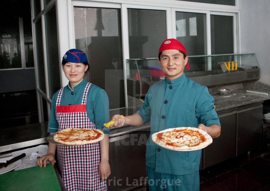 North Korean Cooks In A Pizzeria Pyongan Province Pyongyang North Korea