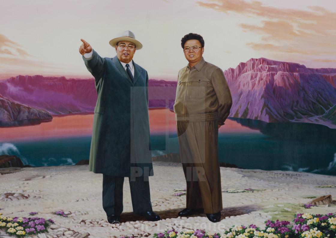 """Kim il Sung and Kim Jong il in mount Paektu propaganda poster, Pyongan..."" stock image"